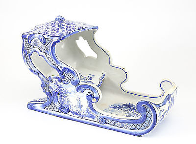 18th Century Dutch Hand Painted Blue & White Pottery Sleigh; Pastoral Designs