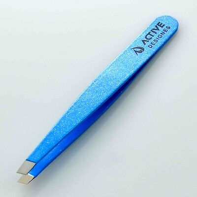 Professional Eyebrow Tweezers Slanted Tips Blue Color Stainless Steel Tweezers