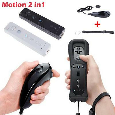Wiimote Built in Motion Plus Inside Remote with Nunchuck Controller Wii 2 Color