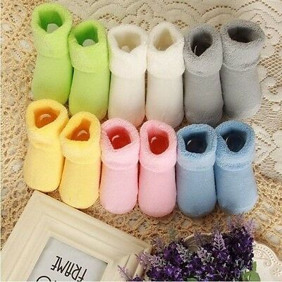 New Pure Color Thick Cotton Terry Newborn Baby Socks Autumn Winter 10cm