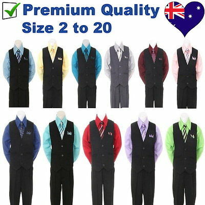 4PC Black Pinstripe Boys Vest Set Wedding Party Boys Formal Suit Boys Outfit