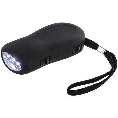Highlander Bright 3 Led Wind Up Crank Rechargeable Dynamo Torch Tent Lamp Black