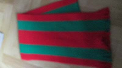 "Unicol green and red scarf 9""x58"". New. Arnold House school."
