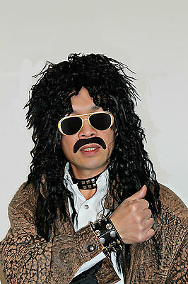 Black Long Curly Rock Star 80s Costume Wigs