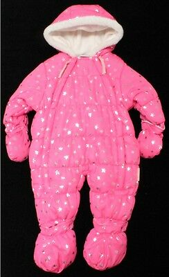 Kids Baby Babies Girls Snowsuits All In One Padded Fleece Lined Snug And Warm