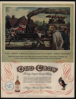 1951  OLD CROW Kentucky Whiskey- IRON HORSE LOCOMOTIVE Railroad Train VINTAGE AD