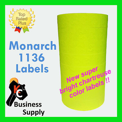 Labels for 1136 Monarch chartreuse-flr yellow,1 sleeve,ink included Made in USA