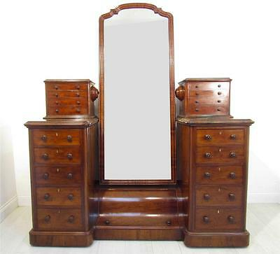An Exceptional 19th C Antique Mahoagny Dressing Vanity  Mirror with Drawers