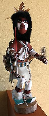 """1960's Native American Kachina Doll """"Spear Dancer"""" by I. McBrown 16"""" Tall"""
