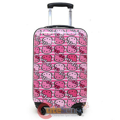 """Sanrio Hello Kitty 20"""" Trolley Luggage Bag Black Emblems Cosmetic Case-Pink Face"""