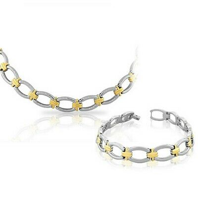 Stainless Steel Silver Yellow Gold Two-Tone Womens Chain Necklace Bracelet Set