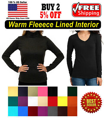 Warm Fleece Seamless Stretch Long Sleeve Turtleneck Mock High Neck V Neck Top