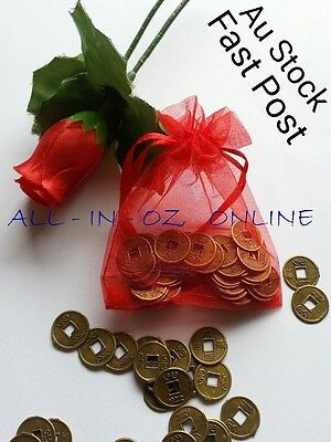 50 x Chinese Feng Shui Auspicious I Ching Coins Gift Bag Attract Wealth Fortune