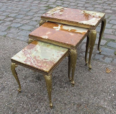 Gorgeous Set Brass  Onyx Nesting Tables