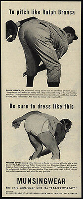 1946 MUNSINGWEAR Men's Underwear - BROOKLYN DODGERS Pitcher BRANCA VINTAGE AD