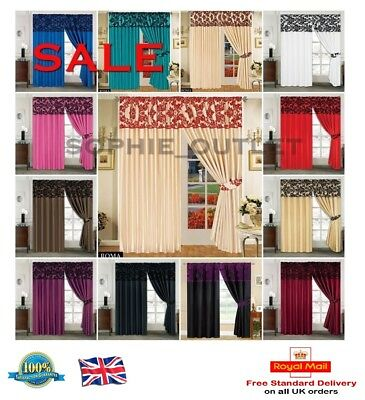 NEW STUNNING Flock Curtain Pencil Pleat Pair Curtains Living Room Bedroom Decor