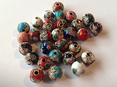 Filigree Cloisonne round beads - 8mm (25 or 50)