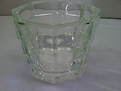Heavy walled glass ice bucket 8-sided stacked design clear vintage barware