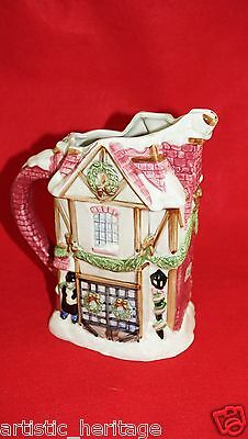 Vintage Fitz and Floyd A Dickens Christmas Handpainted 1 1/4 Quart Pitcher 1988