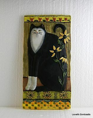 """""""Daisy"""" Sculptured Black & White Kitty Cat Wall Hanging Plaque by E. Smithson"""