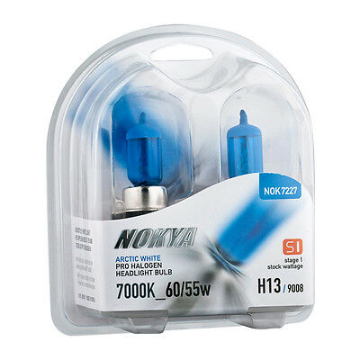 Nokya Arctic White Pro Halogen Headlight Bulbs H13/9008 60/55w 7000K Stage 1 NEW