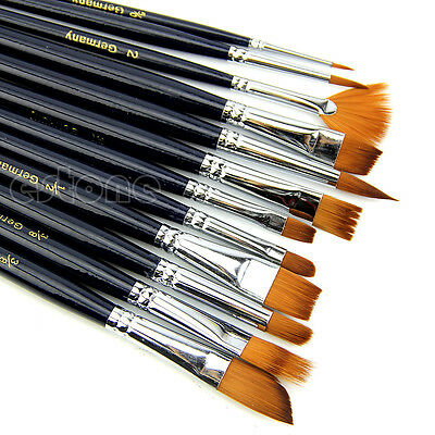 12 x Nylon Hair Artist Watercolour Acrylic Oil Painting Paint Brush Set Supply
