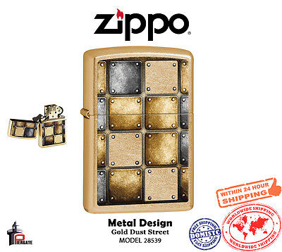 Zippo Metal Design Lighter, Gold Dust Street Finish USA Genuine Windproof 28539