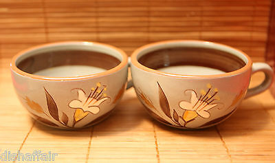 """Stangl Pottery Golden Harvest Pair Coffee Mugs Grey Brown Colors 2"""" Tall -2 Cups"""