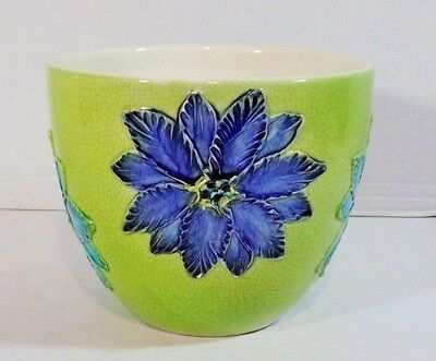 Mid Century Bitossi Italy Blue and Aqua Floral Green Pottery Jardiniere