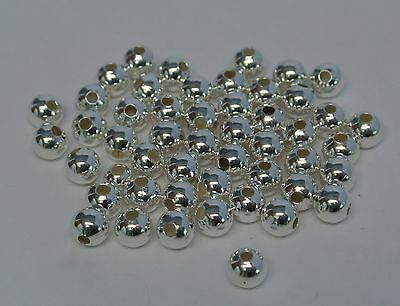 5mm Round Smooth Silver Plated Beads  Ball Spacer  Finding