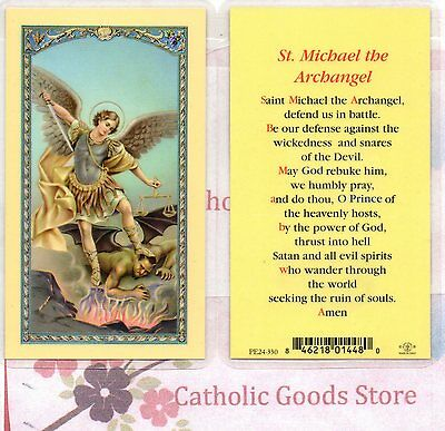 St Michaels with St Michaels Prayer - Laminated Holy Card