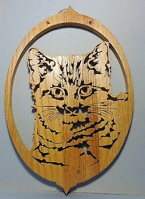 Cat Wall Hanging or Window Sun Catcher Scroll Saw Design Made of Maple Wood