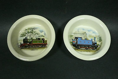 Lot of 2 Carlton Ware Pin Dish British Railroad Trains Thundersley & Tank Engine