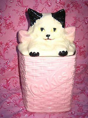 MID CENTURY VINTAGE MCCOY AMERICAN POTTERY PINK BASKET WEAVE CAT COOKIE JAR USA