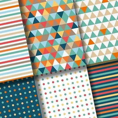 exclusive 48/24pc contemporary triangle strip polka dot scrapbook paper 6 design