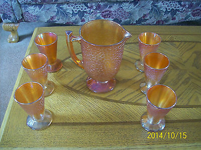 Carnival Glass Crackle Marigold Pitcher Jeanette Glass Company  & 5 Tumblers