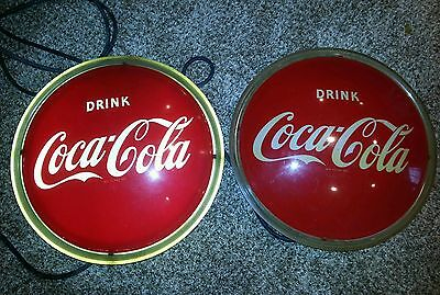 2 1950s Coca Cola Coke button light up signs neon not porcelain original works