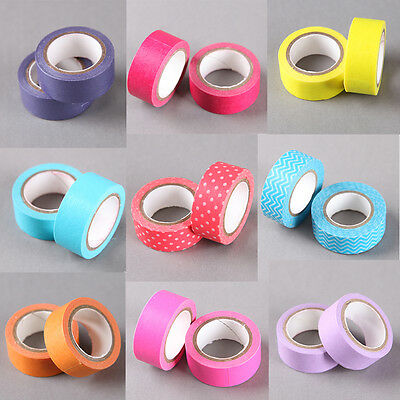 Plain Washi Tapes in all Colours Blue, Red, Green, Yellow, Pink Paper Craft Tape