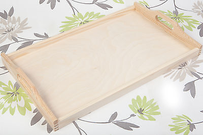 LARGE UNPAINTED WOODEN SERVING TRAY TEA TRAY 6 x 30 x 50 cm/ ART CRAFT DECOUPAGE