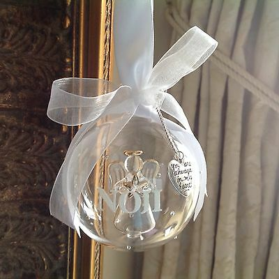 Personalised Glass Christmas Memorial bauble gift with angel inside,
