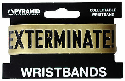 Doctor Who Dalek Exterminate Gold Rubber Wristband New Official Bbc Merchandise