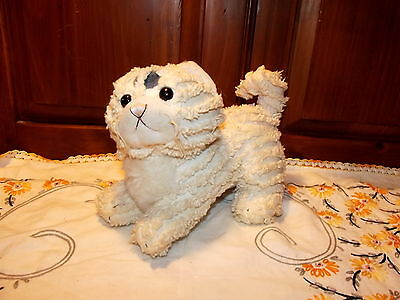 """ANTIQUE VINTAGE 8"""" STUFFED CAT Chenille fabric with soft belly tagged"""
