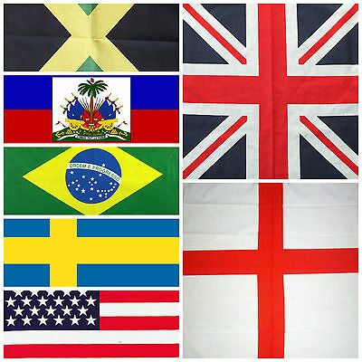 FLAGS OF THE WORLD BANDANA 12PCS 100/% COTTON HEADWEAR SCARF WHOLESALE VA173-7
