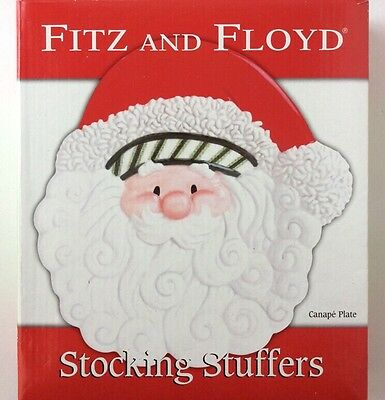 Fitz and Floyd Christmas Santa Stocking Stuffers Canape Plate EUC Box Holiday