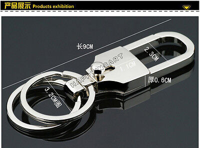 Elegant Alloy Metal Key Chain Double Ring Keyring Waist Holder Car Keychains New