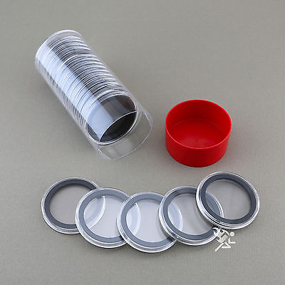 1 Capsule Tube & 20 39mm Black Ring Air-Tite Coin Holders for 1oz Silver Buffalo