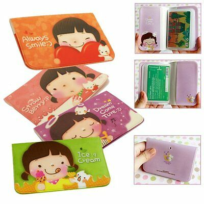 New Girl's Lovely Business IC Credit Cards Holder Bag Pocket Skin Cover Pouch