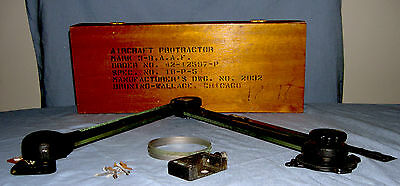WW II Era Bruning Wallace Aircraft Protractor in Wood Case