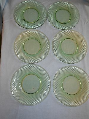 Set of 6 Hocking Vaseline Glass Plates in Spiral Pattern 1925 to 30