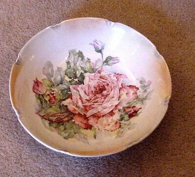 Vintage Thuringia Germany Victorian Porcelain Painted Pink Roses Serving BOWL